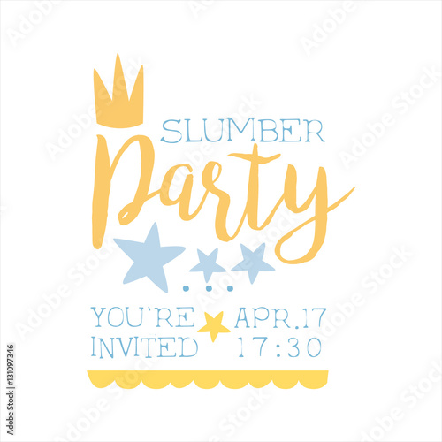 """""""Girly Pajama Party Invitation Card Template With Crown"""