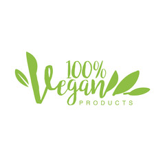 Vegan Natural Food Green Logo Design Template With Stylized Font Promoting Healthy Lifestyle And Eco Products