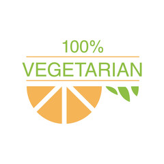 Vegan Natural Food Green Logo Design Template With Orange Slice Promoting Healthy Lifestyle And Eco Products