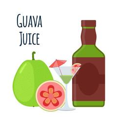 Guava juice, fruit alcohol, flat style. Tropical cocktail, shot, guava slices