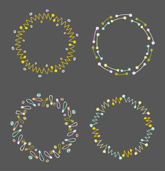 Round vector frames and wreaths made of different abstract elements drawn with black ink pen. Lines and dots colored motifs and patterns. For design of frames, headers, banners, greeting cards.