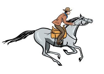 Horseback galloping rider. Vector hand drawn cartoon illustration with cowboy man and horse.