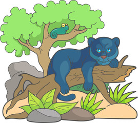 little cartoon panther resting on an old tree
