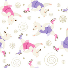 Vector seamless pattern with cute polar bears. Beautiful dancer on skates, perfect for prints and patterns.