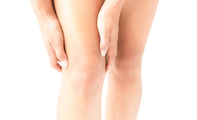 Closeup woman hand hold knee with pain symptom, health care and