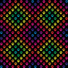 Paw prints in gradient rainbow colors in a diamond pattern, on black background, a seamless pattern