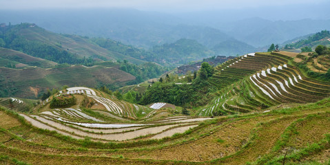 Yaoshan Mountain, near the city of Guilin,  Province of Guangxi. China hillside rice terrace landscape with the village