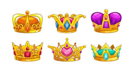 Cartoon royal crown icons set.