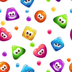 Seamless pattern with jelly characters