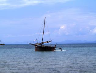 NOSY BE , MADAGASCAR, NOVEMBER 2.2016,  Ships in a picturesque bay Indian Ocean, Nosi Be, Madagascar,  November 2. 2016,