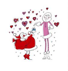 Christmas mood vector illustration with short Santa proposing ta