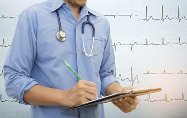 Doctor writing a medical prescription