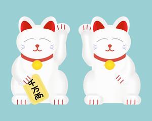 Maneki-neko or lucky cat . Vector illustration isolated on background.
