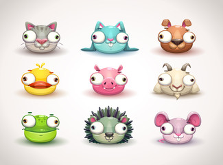 Funny crazy animals faces icons set.
