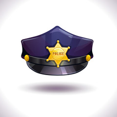 Vector black police hat