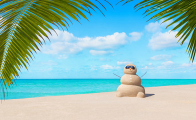 Positive sandy snowman in sunglasses at tropical ocean palm beac