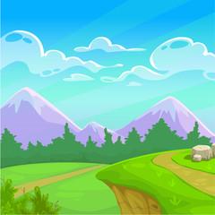 Keuken foto achterwand Lime groen Cartoon sunny day landscape