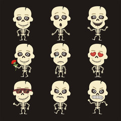 Vector set isolated cute skeleton. Collection funny skeleton in cartoon style.