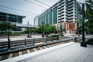 Railroad tracks in Uptown Charlotte, North Carolina.