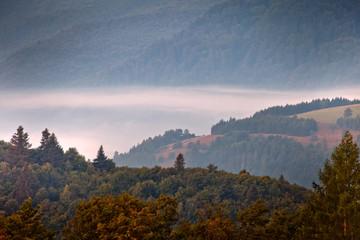 Piękny wschód słońca w górskim mieście Muszyna. Beautiful sunrise  in the mountain in Muszyna - Poland. Polish mountain landscape.