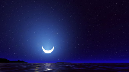 Vector night sky with ocean, moon stars background