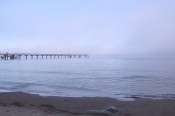 Travemünder Strand, Beach of Travemuende in fog