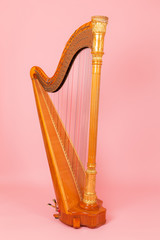 harp on a pink background