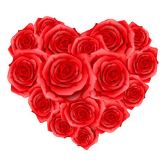 Heart of red realistic roses. Happy Valentine day greeting card