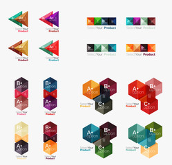 Collection of geometric paper infographic templates