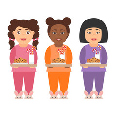 Cute cartoon character girls children with milk and cookies for Santa Claus.People of different nationalities - asian, african and american. Vector in flat design. Merry Christmas and Happy New year.