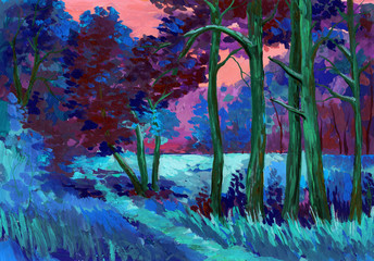 Beautiful bright painted colors of a Park landscape with trees and grass
