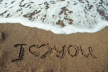 I love you on a sand of beach.