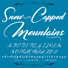 Script Font Typeface Snow-Capped Mountains vintage script font Vector typeface for labels and any type designs