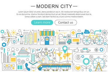 Vector modern line flat design Modern smart city concept. Modern smart city icons Website Header, app design poster banner.