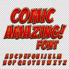 Creative high detail comic font. Alphabet of comics, pop art.