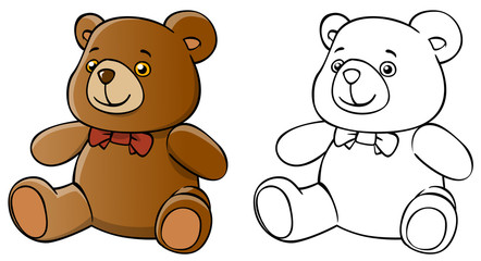 cartoon teddy bear and coloring on a white background