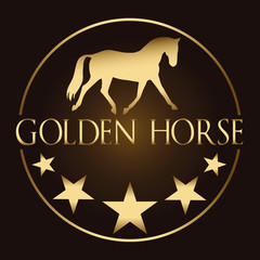 Logo vector image of golden horse and stars on a dark background. Horse logo template. Logo element, vector icon. Suitable for riding dressage school, farm, ranch, stable, club logo, visiting card.