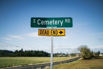 Dead End Cemetery Road Sign