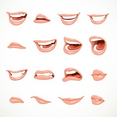 Female's mouth to express different emotional states objects iso