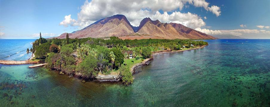 Drone Aerial Panoramic - Island of Maui - Hawaii