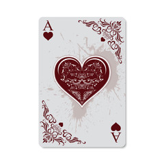 Poker and Casino. Ace of hearts, vintage and retro style with grunge effect. Exclusive design for the deck of cards. Vector illustration.