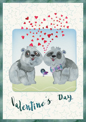Valentine card. Lovers pandas. Valetnine day concept.
