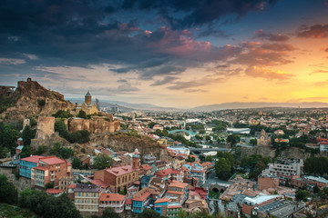 panoramic view of Tbilisi at sunrise, Georgia, Europe