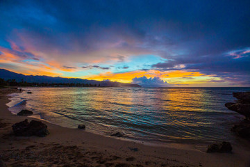 Fototapete - Beautiful North Shore Hawaiian Sunset