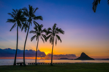Beautiful sunrise at Chinaman's Hat on Oahu