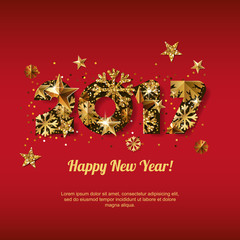 Happy New Year 2017 vector greeting card with golden numbers. Holiday red glowing background. Stars and snowflakes with gold pattern. Concept for New Year banner, poster, flyer, party invitation.