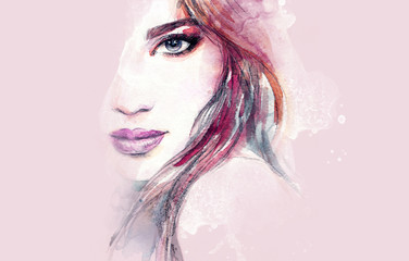 Deurstickers Aquarel Gezicht Abstract woman face. Fashion illustration. Watercolor painting