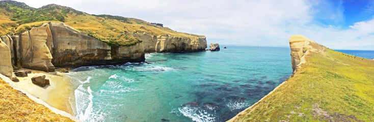 Tunnel Beach - southwest of the city center of Dunedin, New Zealand