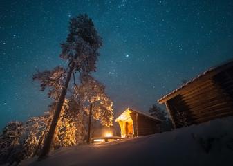 Campfire beside cabin, Korouoma nature reserve, Posio, Finland