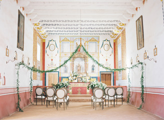 Wedding decoration in small church